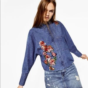 ZARA TRF EMBROIDERED DENIM SHIRT