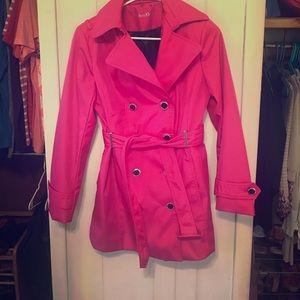 Pink Calvin Klein trench coat