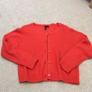 Button front cropped cardigan sweater
