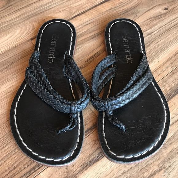 9ec9a96d58b4f6 Bernardo Shoes - Bernardo Black Leather Miami Woven Thong Sandal