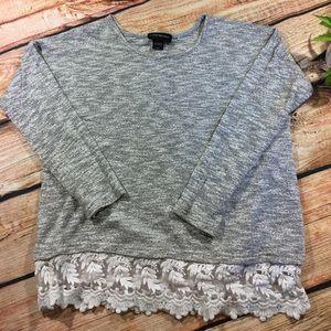 🍁Lane Bryant Gray Sweater Lace Trim
