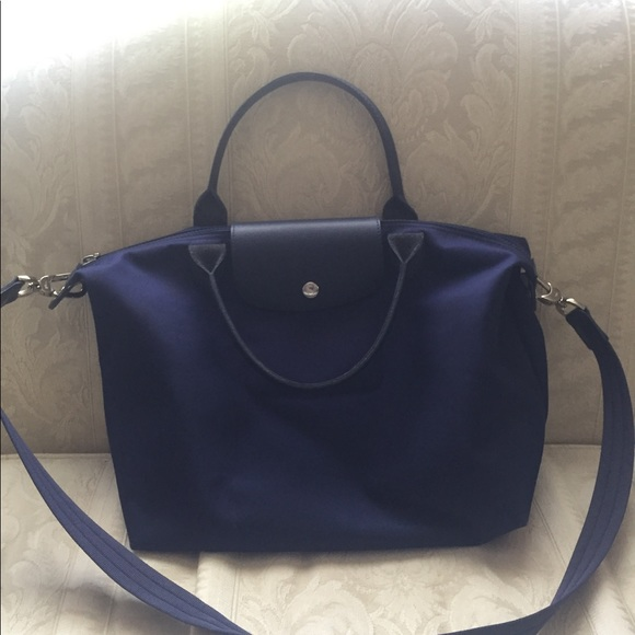 08642e88fbbe Longchamp Handbags - Blue Medium Le Pliage Neo Nylon Tote