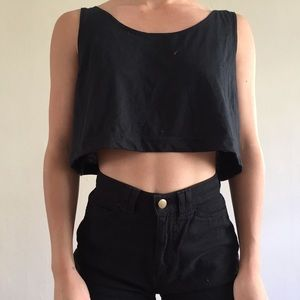 Black American apparel scoop neck tank crop top