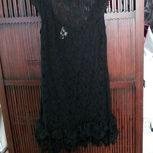 Jessica Simpson black feather and lace dress