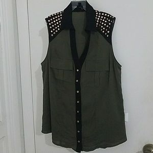 Bebe Army Green Button Down Sleeveless Shirt