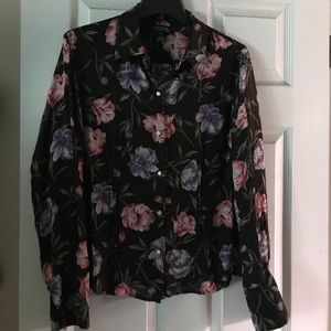 Floral career blouse