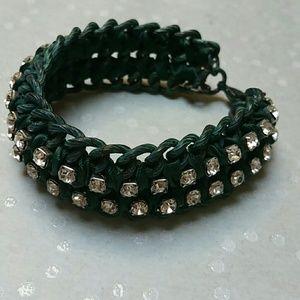 Vintage Verdi, ribbon and rhinestone bracelet