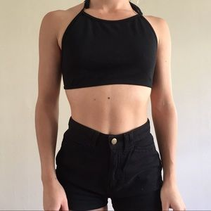 Black American apparel ponte halter crop top