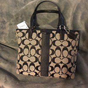 Coach signature stripe top handle Tote purse