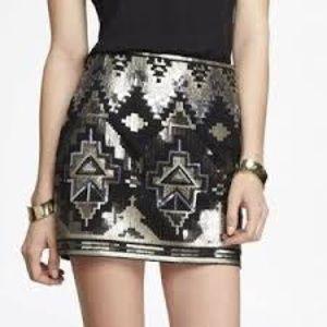 NWOT Express Aztec Sequin Skirt