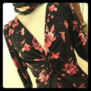 Fall floral Dress pretty in pink and black