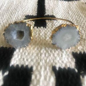 Jewelry - White solar quartz gold adjustable cuff bracelet