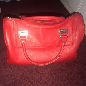 Express red leather satchel