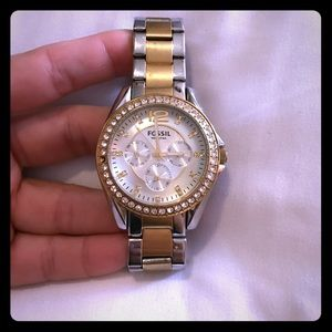 Gold and Silver Rhinestone Fossil Watch
