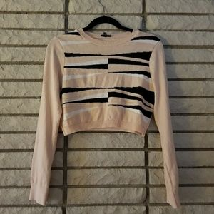 Pink, black and white cropped sweater-uk size 10