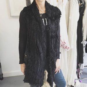 Elliatt knit rabbit fur vest, new without tags