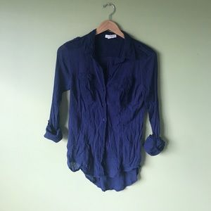 Navy Button down Anthropologie Blouse