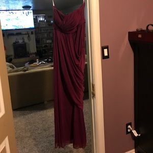 Davids Bridal Sangria bridesmaids dress
