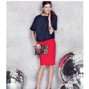 J. Crew Red No 2 Pencil skirt in cotton