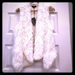 Winter white rabbit fur knit vest