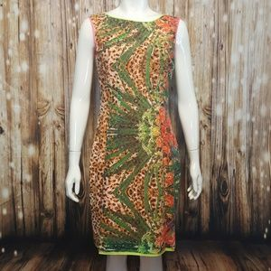 Elie Tahari colorful print crochet lace dress
