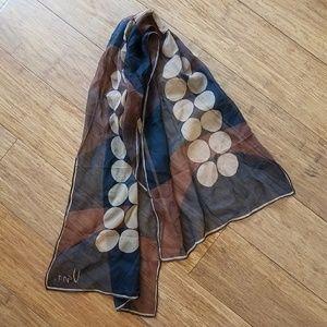 Vintage 60s mod brown CIRCLES scarf