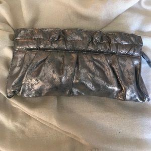 Metallic Faux Leather Clutch