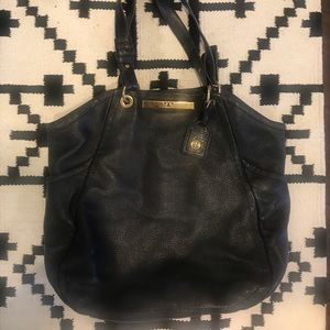Tory Burch Bags - Tory Burch black pebbled leather hobo bag gold
