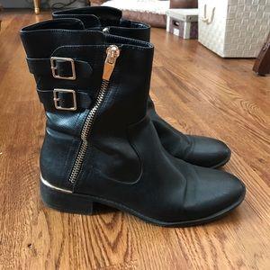 Calvin Klein black leather boots