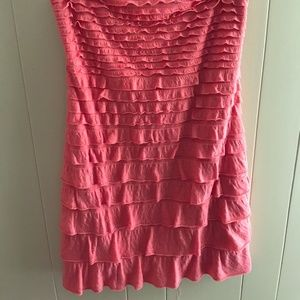 Express ruffled strapless tube dress