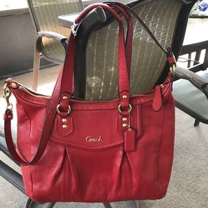 Coach Ashley XL Red Leather Tote Satchel