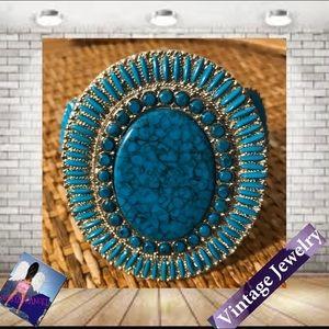 Vintage Heavy Turquoise & Silver  Bangle Bracelet