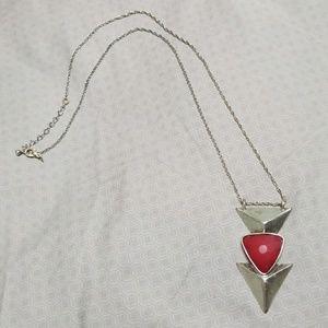 Jewelry - Medium length silver & magenta arrow necklace