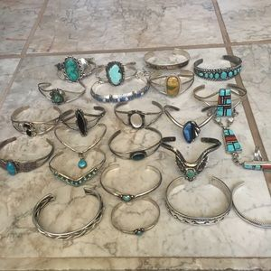 Jewelry - Native American Sterling Turquoise Cuff bracelets
