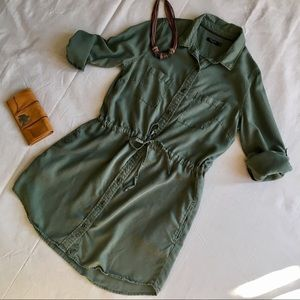 Max Jeans Olive Long Sleeve Cinch Dress, Large