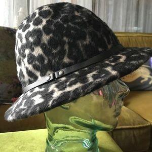 Eugenia Kim Leopard Hat w Leather Detail