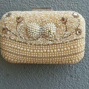 Gorgeous Evening Bag faux Pearls & Crystals