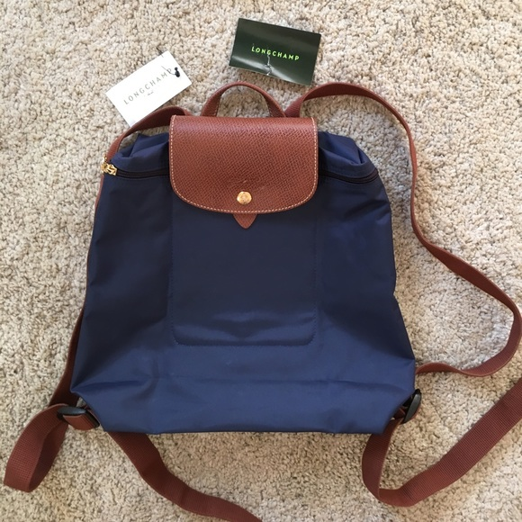 NWT Longchamp Le Pliage Backpack in Navy 932728dab14b7