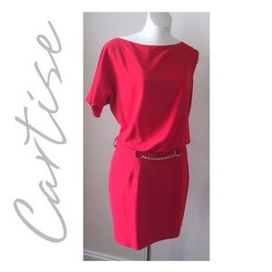 Cartise One Sleeve Red Dress