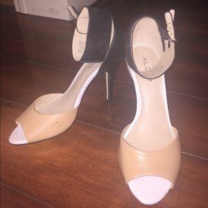 Aldo | Nude/black, ankle strap, peep toe heel