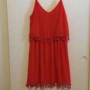 Two tier spaghetti-strap dress in orange