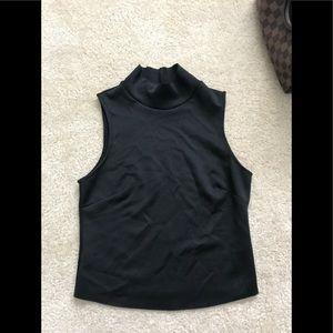 Zara Black Cropped Mock Neck Sleeveless top