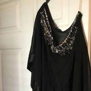 One-shoulder sequin detail black tunic