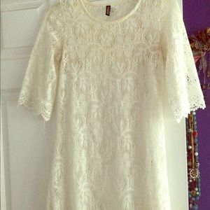 White Lace Dress with Scalloped Hemline
