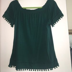 NWT Off the shoulder pompom top