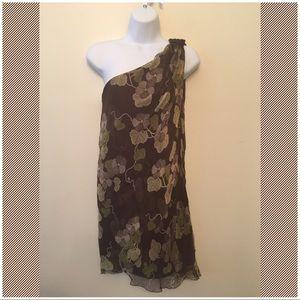 M.S.S.P. One-Shoulder 100% Silk Asymmetrical Dress