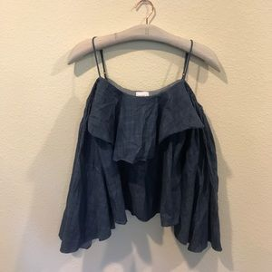 Misa Los Angeles chambray cold shoulder top