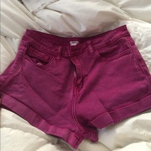 Purple Forever 21 high waisted jean shorts