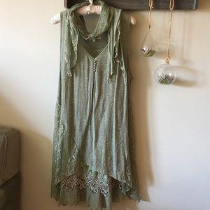 Pretty Angel Boho Sage 3-piece Dress Tunic Coverup