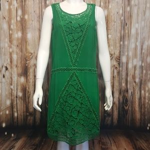 Tracy Reese green silk crochet paneled shift dress